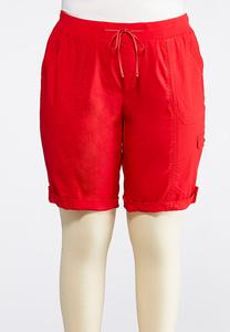 Plus Size Drawstring Cargo Shorts