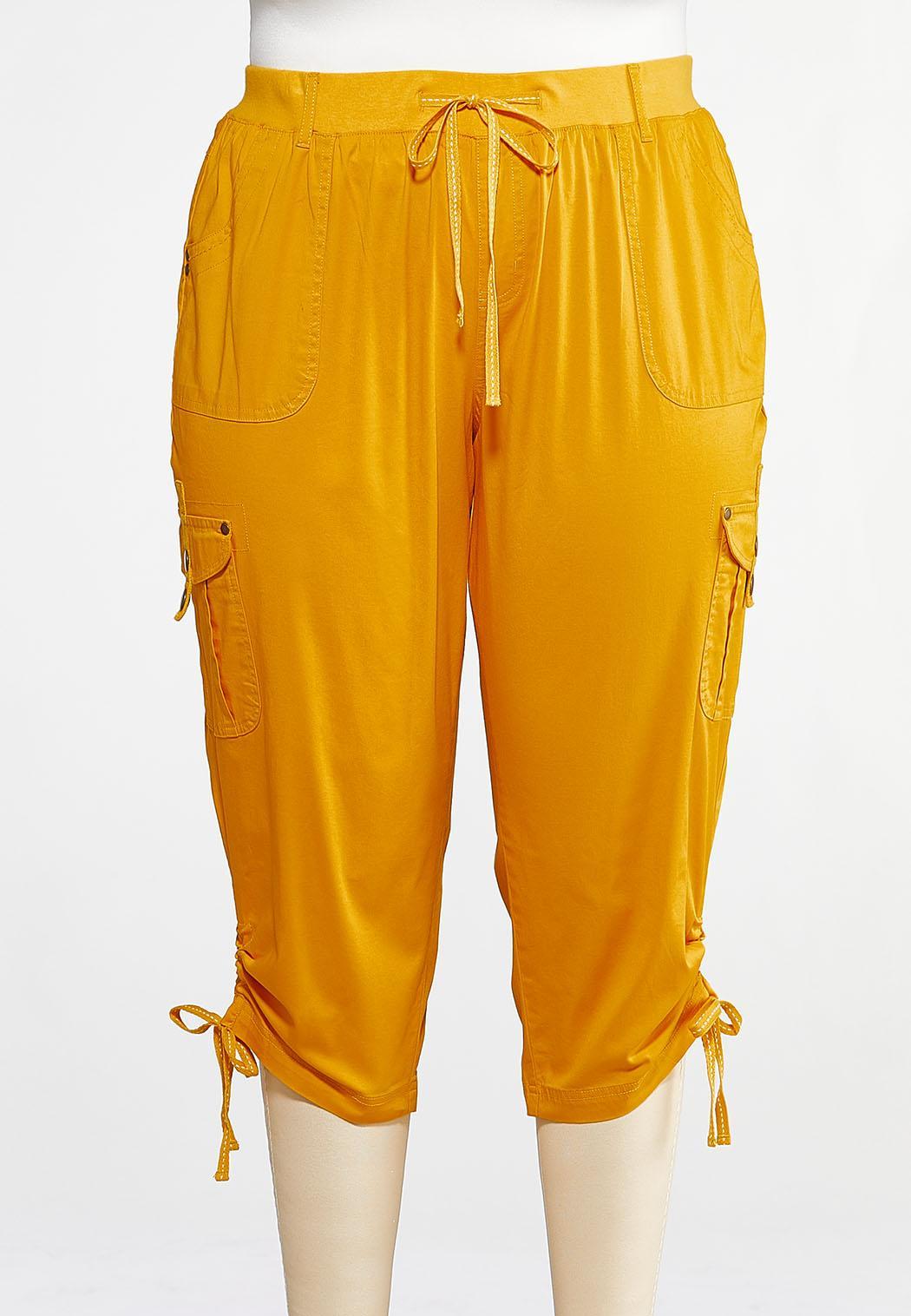 Plus Size Cropped Cargo Drawstring Pants