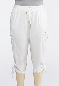 Plus Extended Cropped Cargo Drawstring Pants