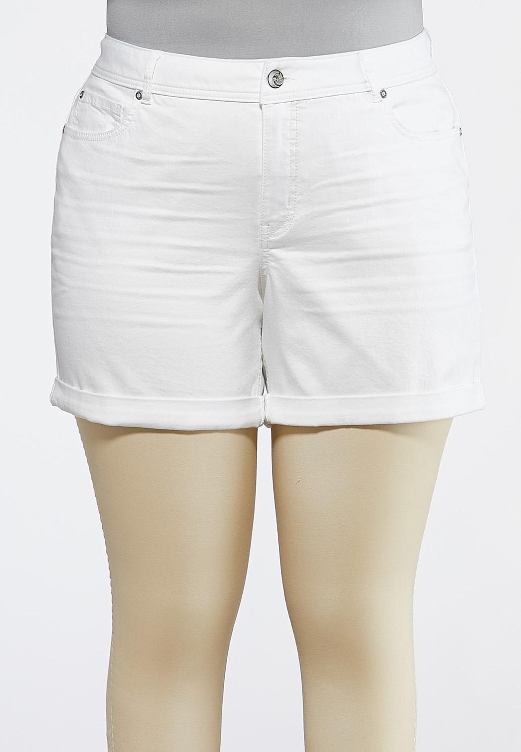 Plus Size White Denim Cuffed Shorts