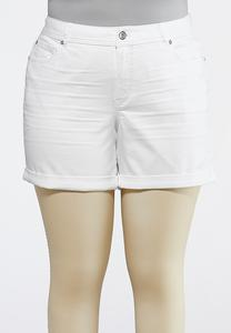 Plus Size White Denim Cuffed Shorts