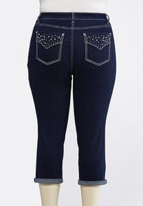 Plus Size Cropped Crystal Embellished Jeans