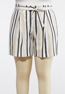 2a9d6da16bb Plus Size Striped Linen Shorts