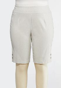 Plus Size Striped Bermuda Shorts