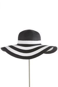 Black White Stripe Floppy Hat