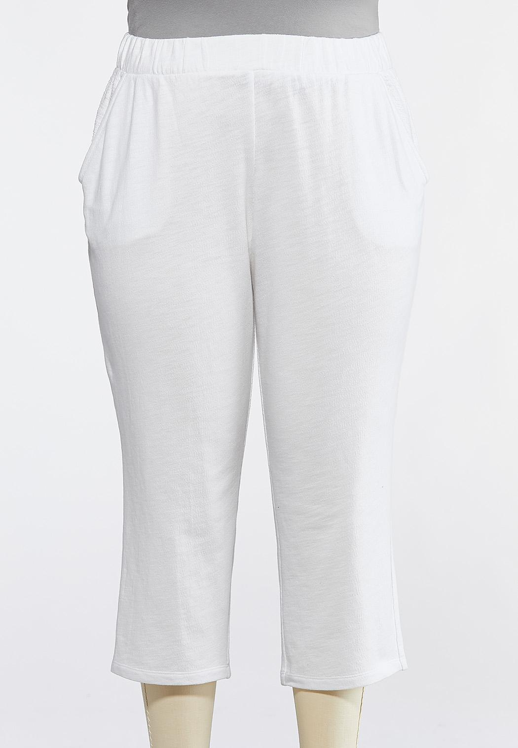 Plus Size White Terry Cropped Pants