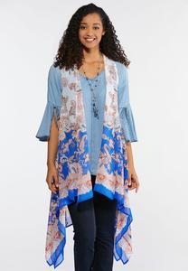 Plus Size Sheer Paisley Vest