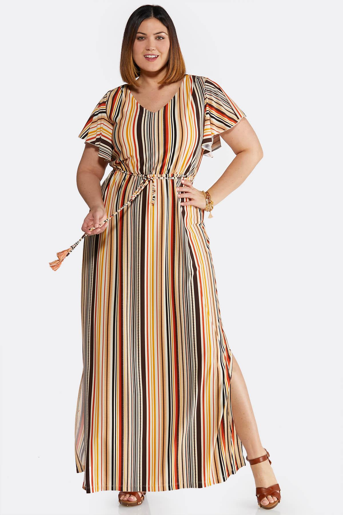 Plus Size Striped Tie Waist Maxi Dress Dresses Cato Fashions