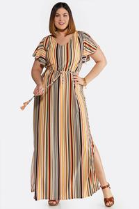Plus Size Striped Tie Waist Maxi Dress