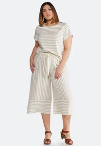 Plus Size Striped Two-Piece Set