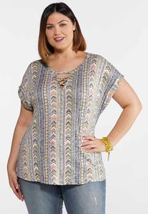 Plus Size Mixed Chevron Tee