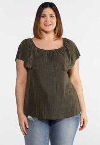 Plus Size Pleated Off The Shoulder Top