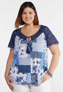 Plus Size Blue Patchwork Peasant Top