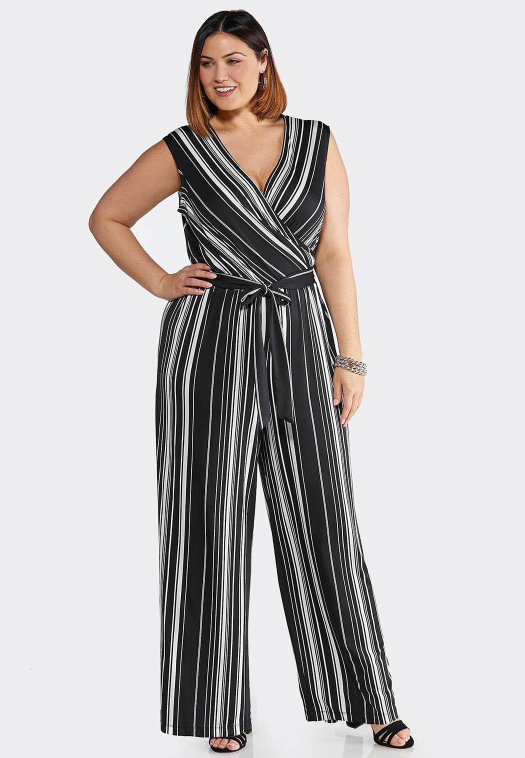 c2c02f52d77 Plus Size Black Stripe Tie Waist Jumpsuit Dresses Cato Fashions
