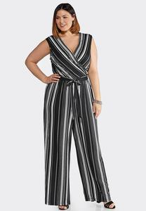 Plus Size Black Stripe Tie Waist Jumpsuit