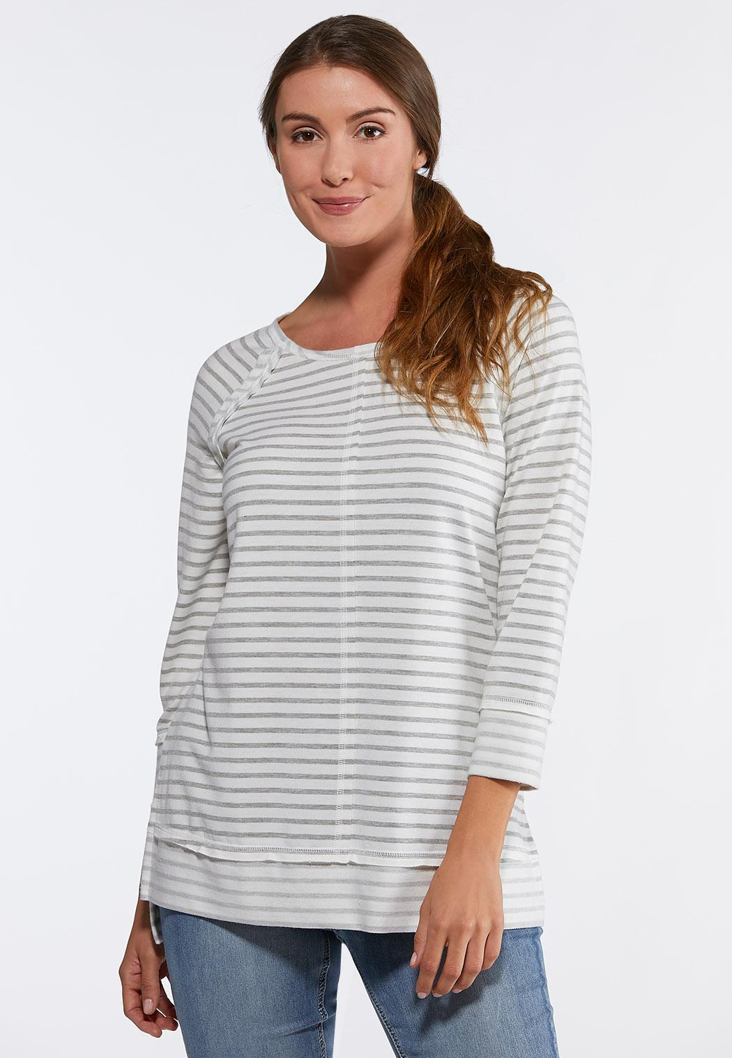 43a59318bce7d6 Plus Size Stripe French Terry Tunic Tops Cato Fashions
