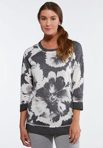 Plus Size Floral Fleece Top