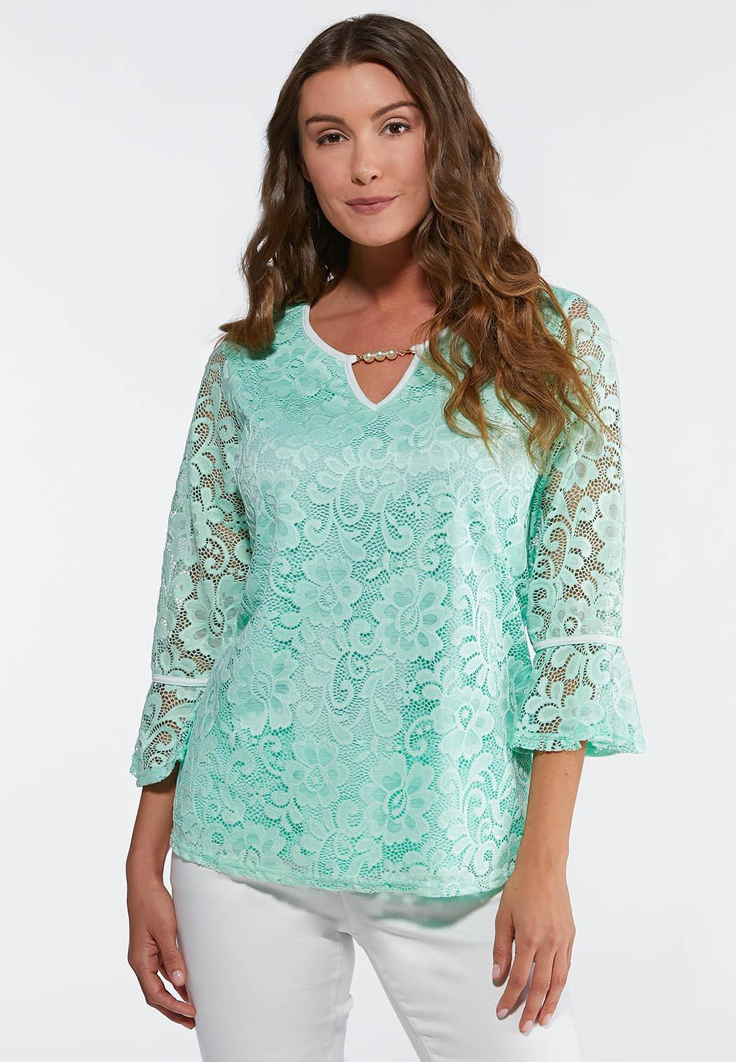ea1623f5f42 Pearl Embellished Lace Top alternate view · Pearl Embellished Lace Top