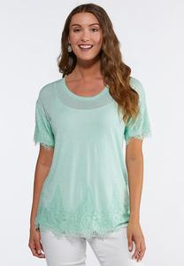 Plus Size Solid Lace Trim Tee