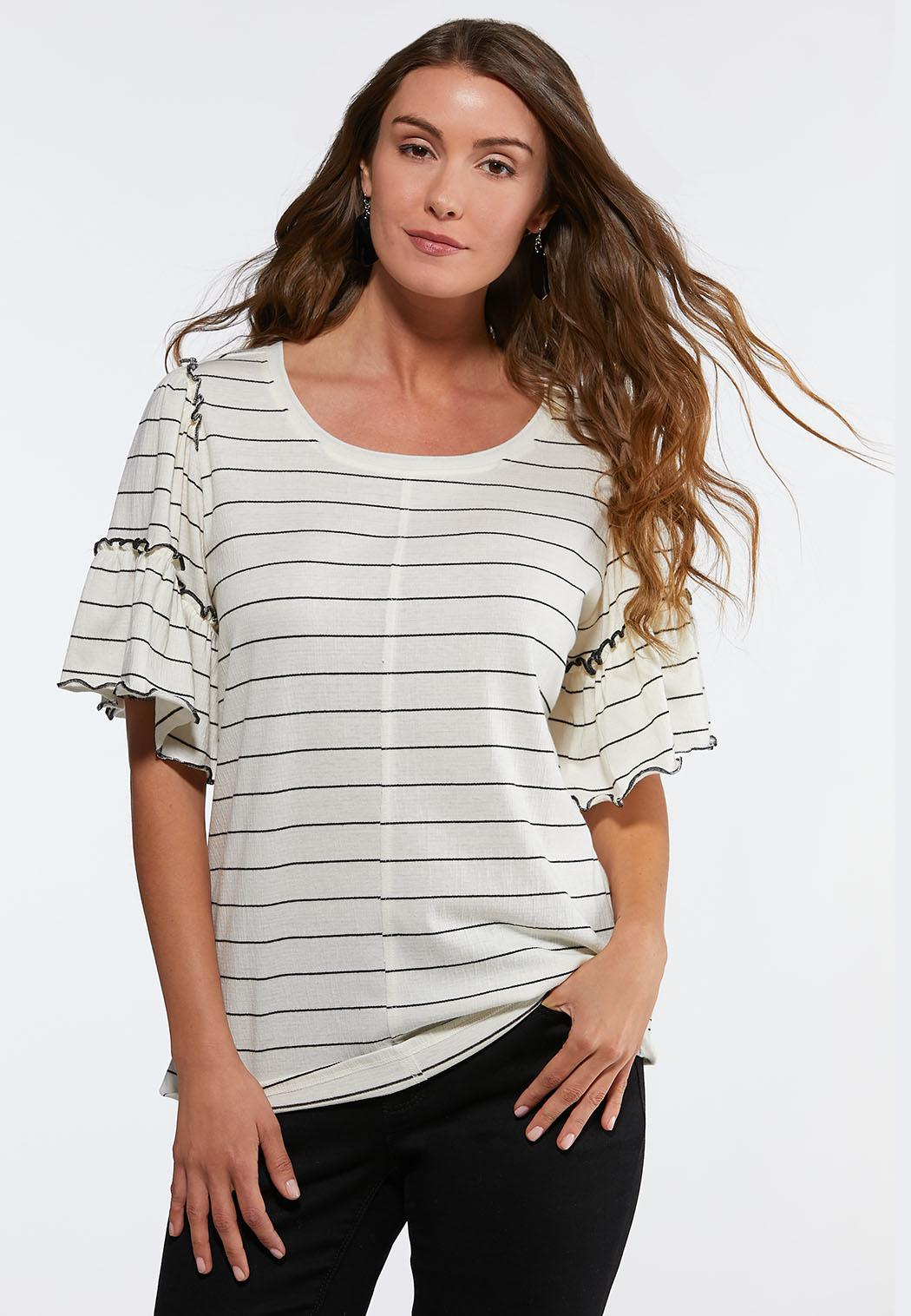 706a1af0c68 Plus Size Stripe Ruffled Top Tees   Knit Tops Cato Fashions