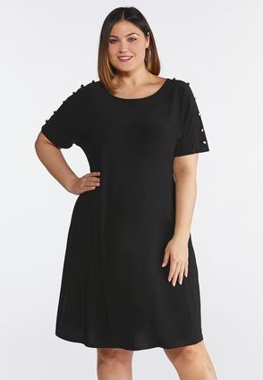 Plus Size Fabric Button Sleeve Dress