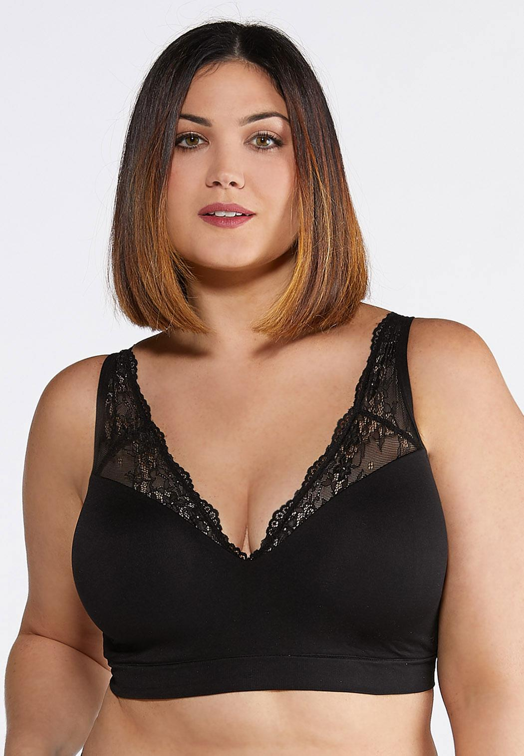 Plus Size Lace Trim Seamless Wireless Bra