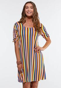Plus Size Striped Ruched Sleeve Dress