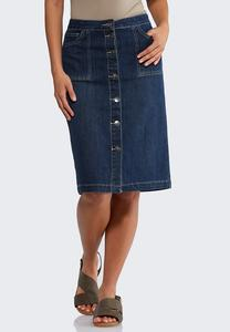 Plus Size Button Front Denim Skirt