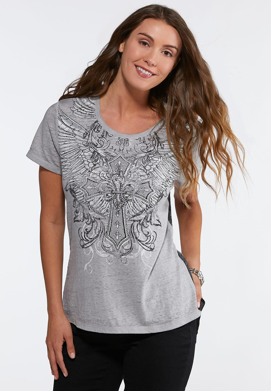 Plus Size Embellished Winged Cross Tee