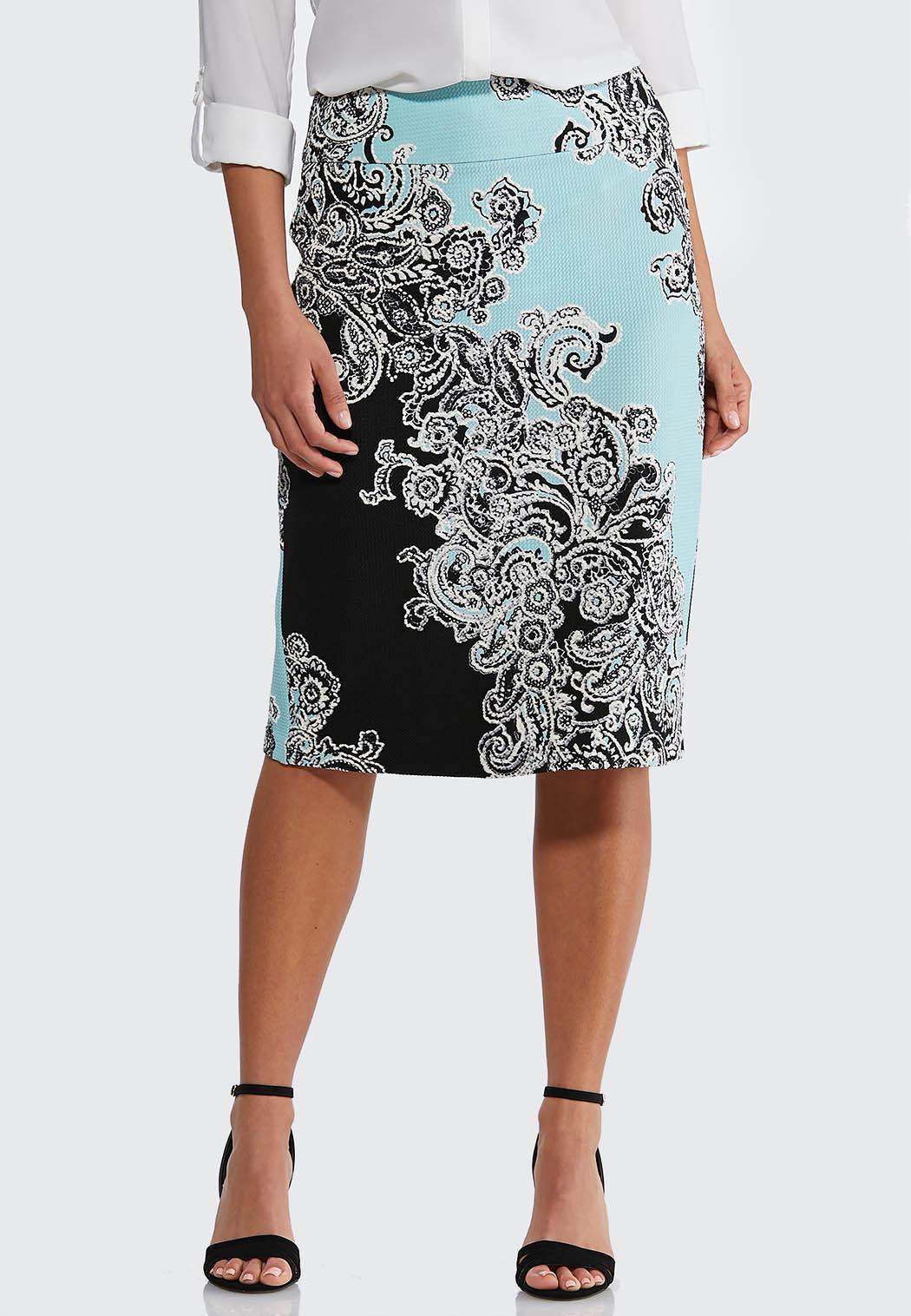 Plus Size Turquoise Paisley Pencil Skirt