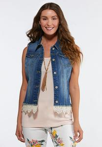 Plus Size Crochet Denim Vest