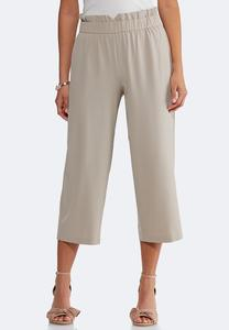 Cropped Paperbag Waist Pants