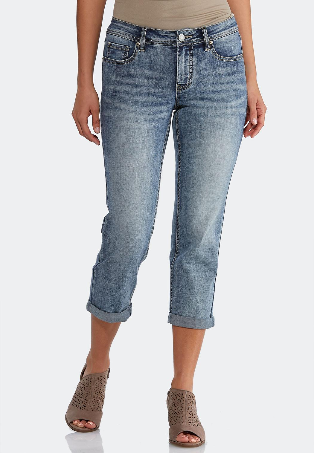 Cropped Faded Wash Denim Jeans