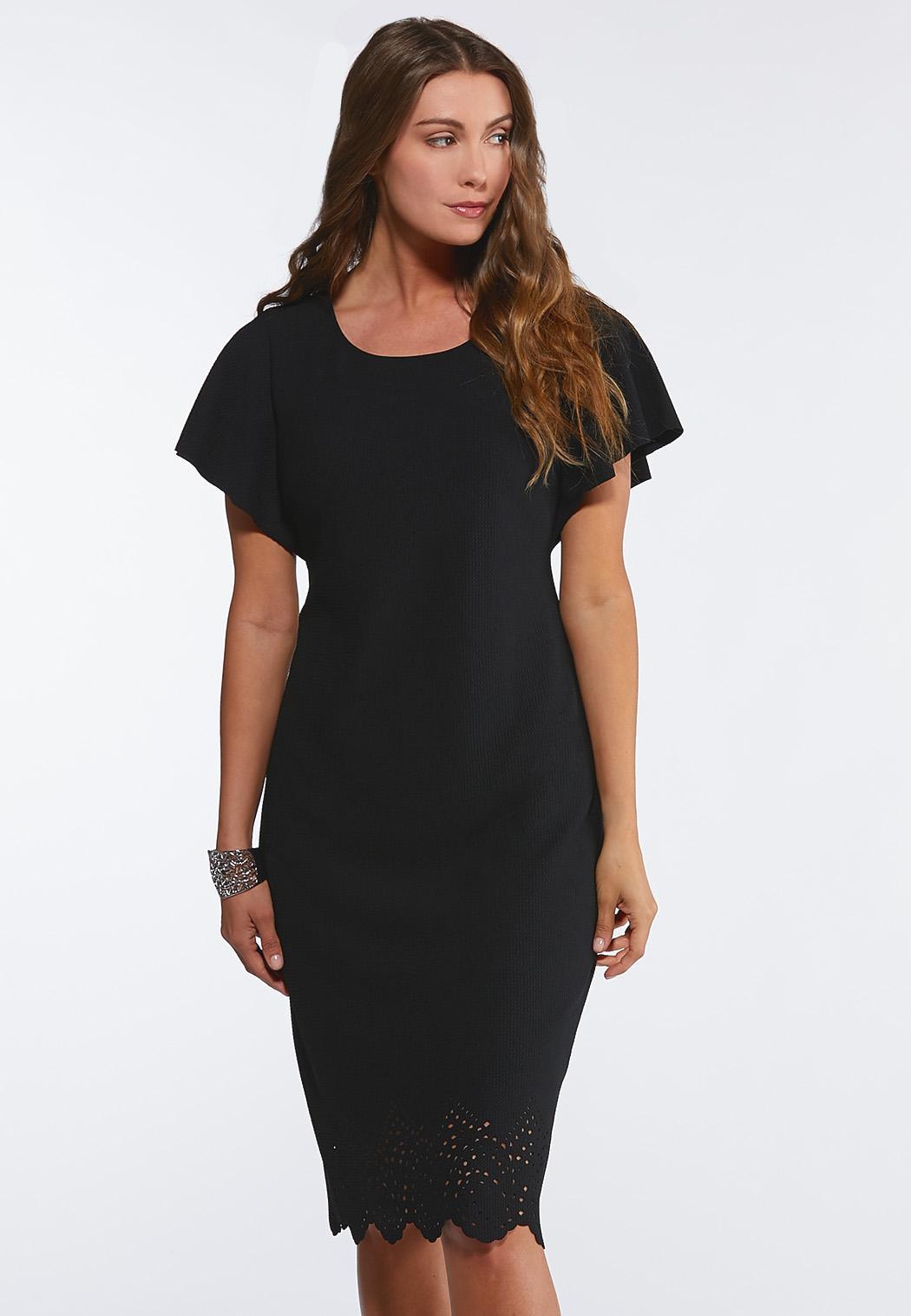 Plus Size Textured Laser Cut Dress Midi Cato Fashions