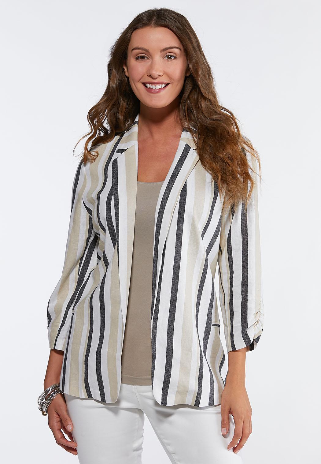 Plus Size Striped Linen Blazer