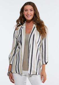 Plus Size Striped Linen Blazer