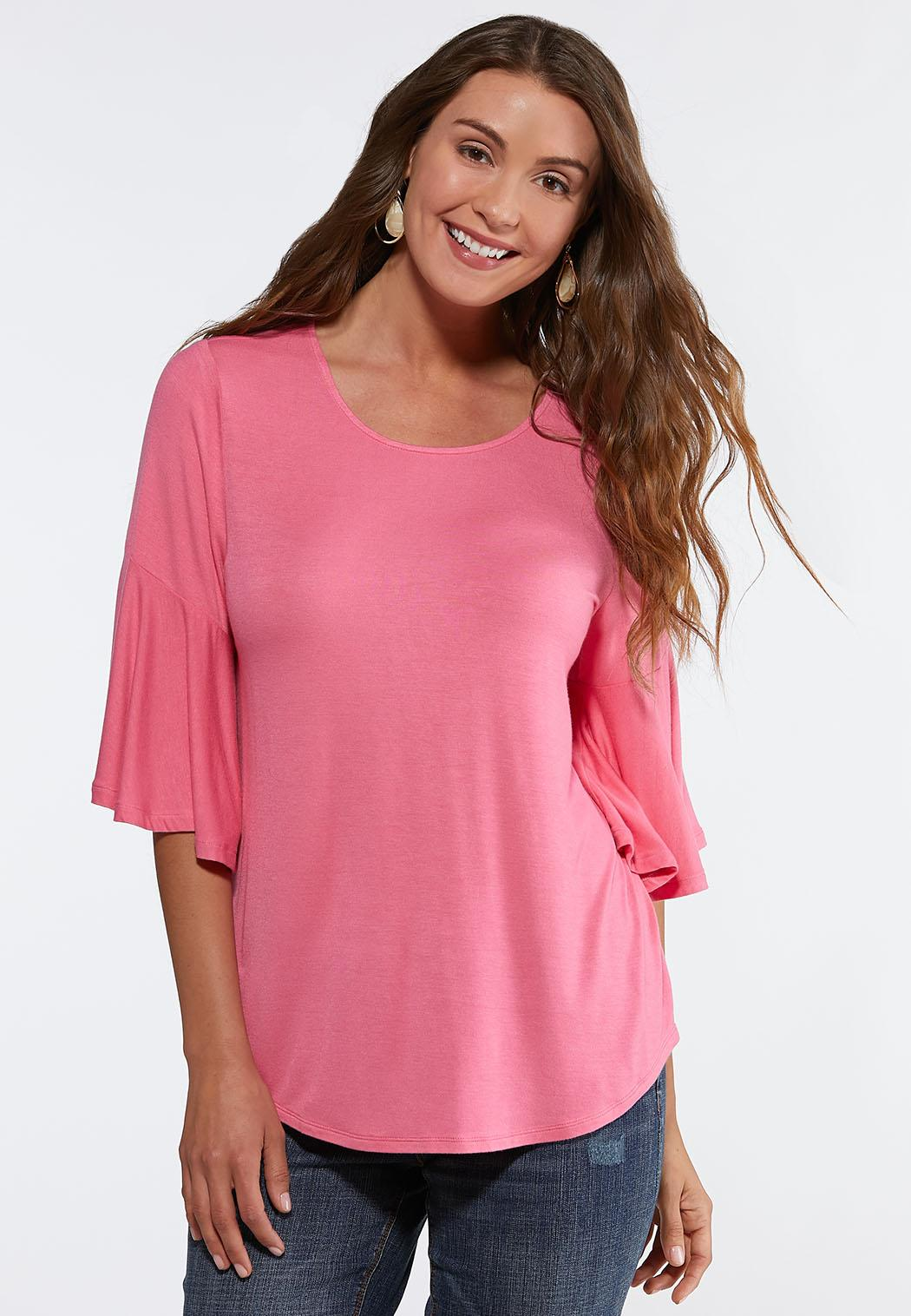 c8a58e74052 Plus Size Solid Pleated Back Top Tees   Knit Tops Cato Fashions