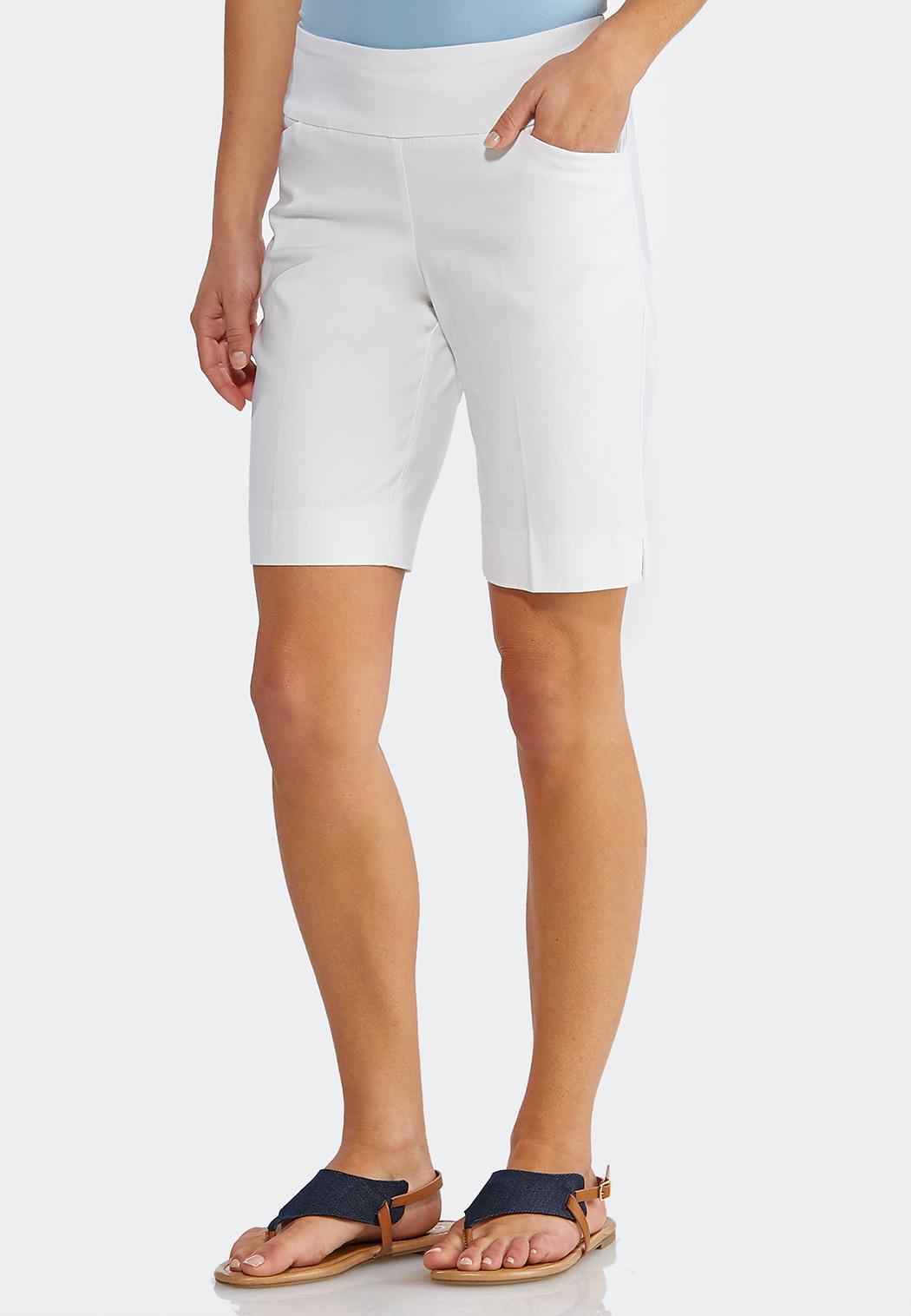 Neutral Bengaline Bermuda Shorts