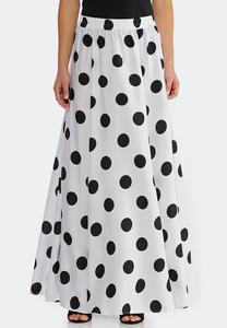 Plus Size Black White Dot Swing Maxi Skirt