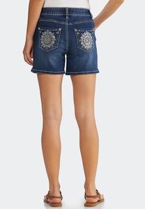 Sunburst Pocket Denim Shorts