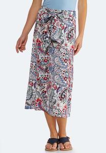 Plus Size Paisley Tie Waist Skirt