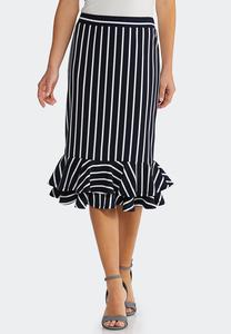 Stripe Flounced Skirt