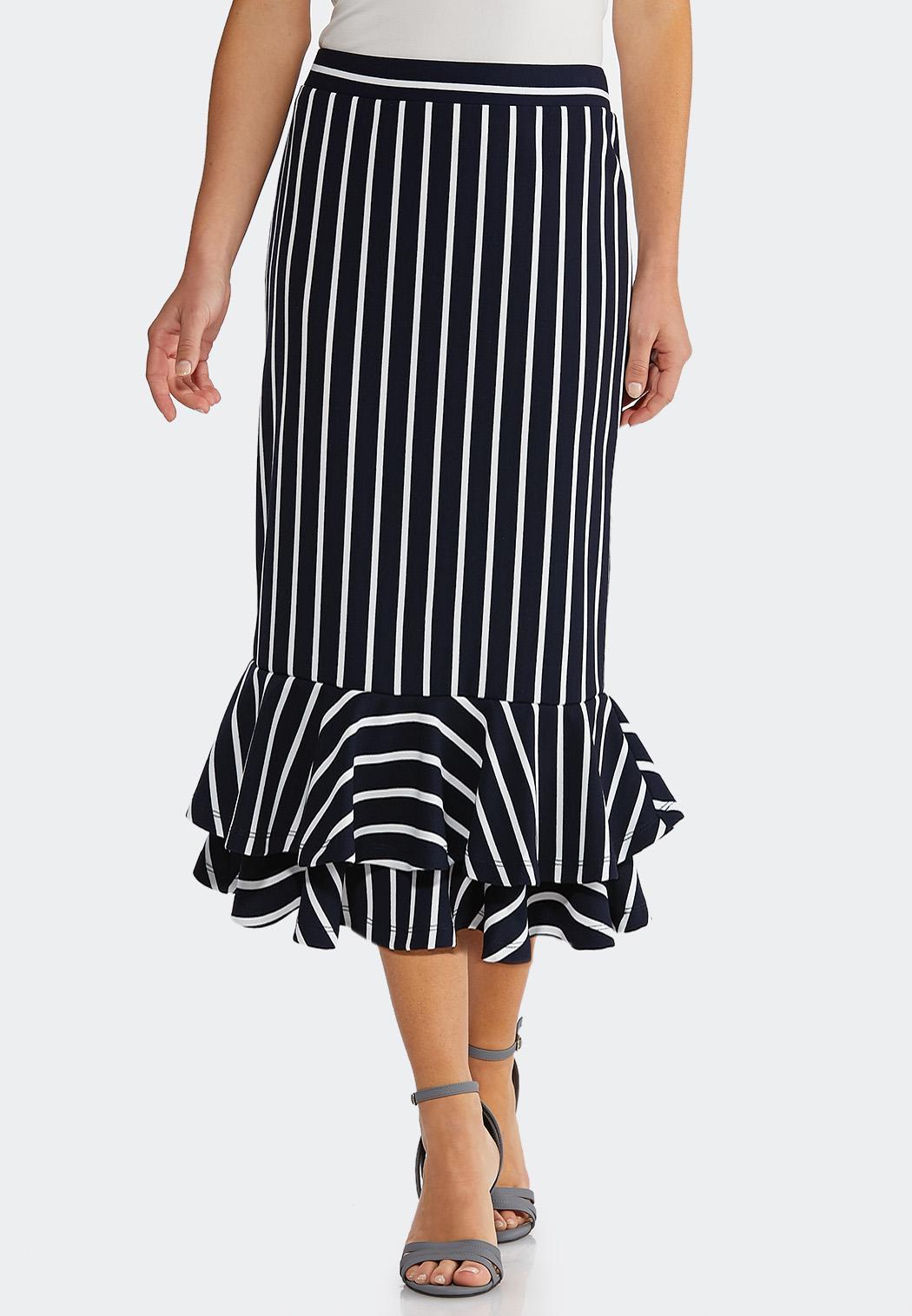 Plus Size Stripe Flounced Skirt