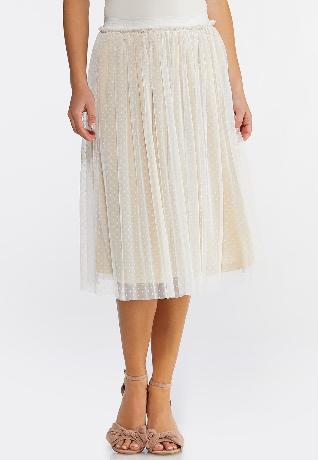 Dotted Mesh Midi Skirt