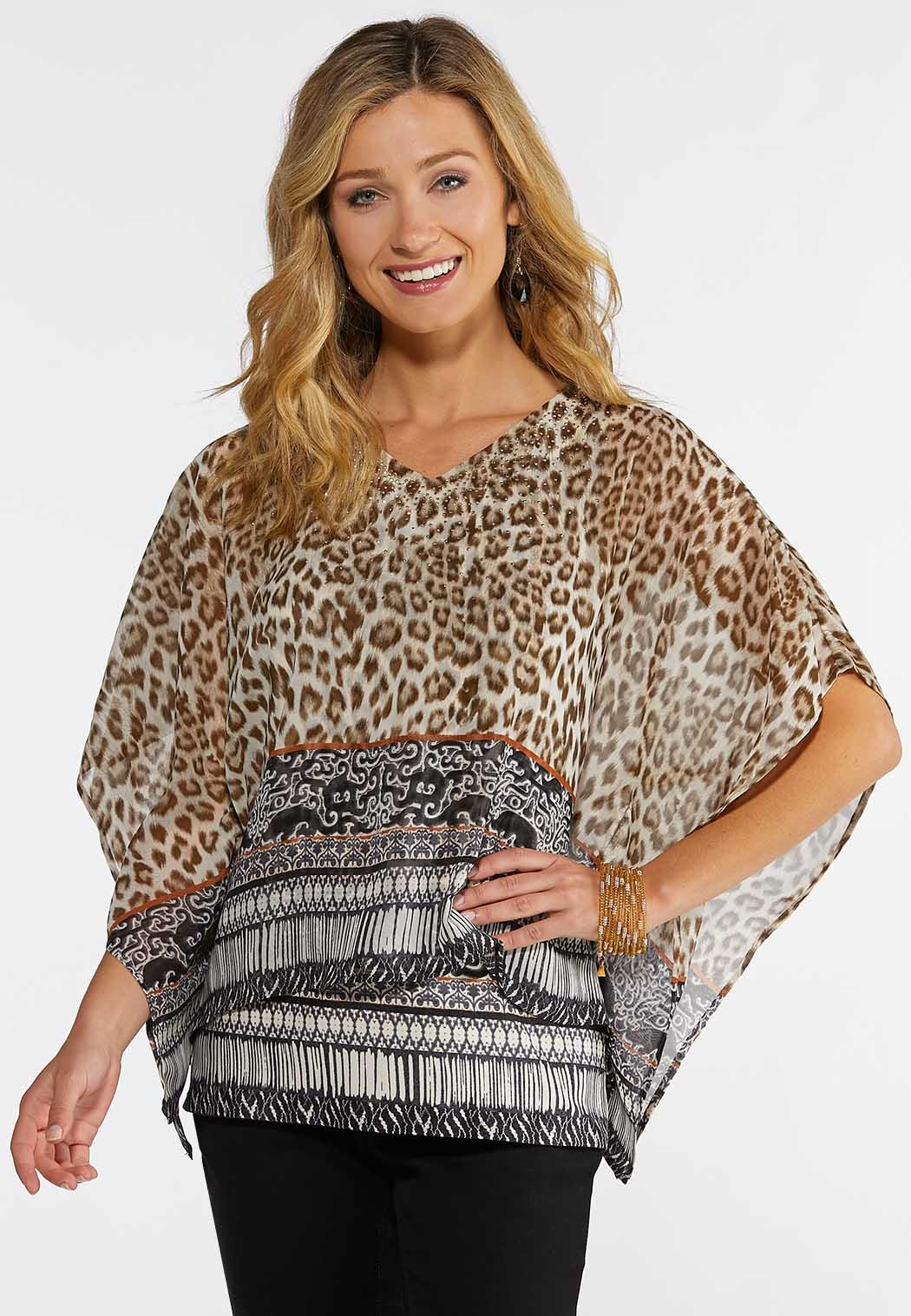 d877ddb67296 Plus Size Animal Print Capelet Shirts & Blouses Cato Fashions
