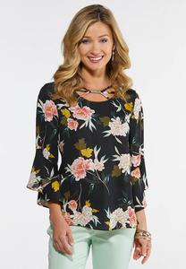 Plus Size Blooms And Bell Sleeve Top