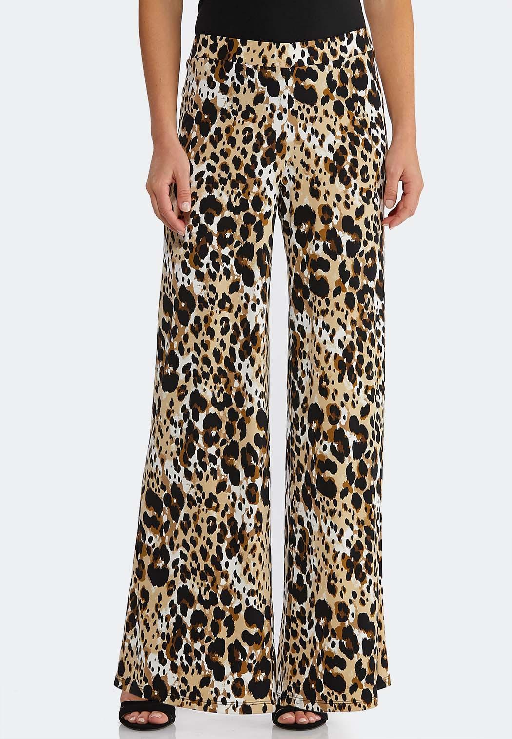 Petite Breezy Leopard Palazzo Pants