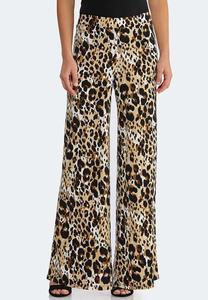 2cf47534192 Petite Breezy Leopard Palazzo Pants