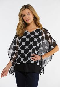 Plus Size Polka Dot Capelet