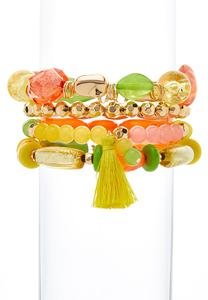 Tropical Yellow Assorted Stretch Bracelet Set